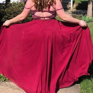 La Femme Dresses - Merlot Beaded Open Back Prom Dress/ Evening Gown